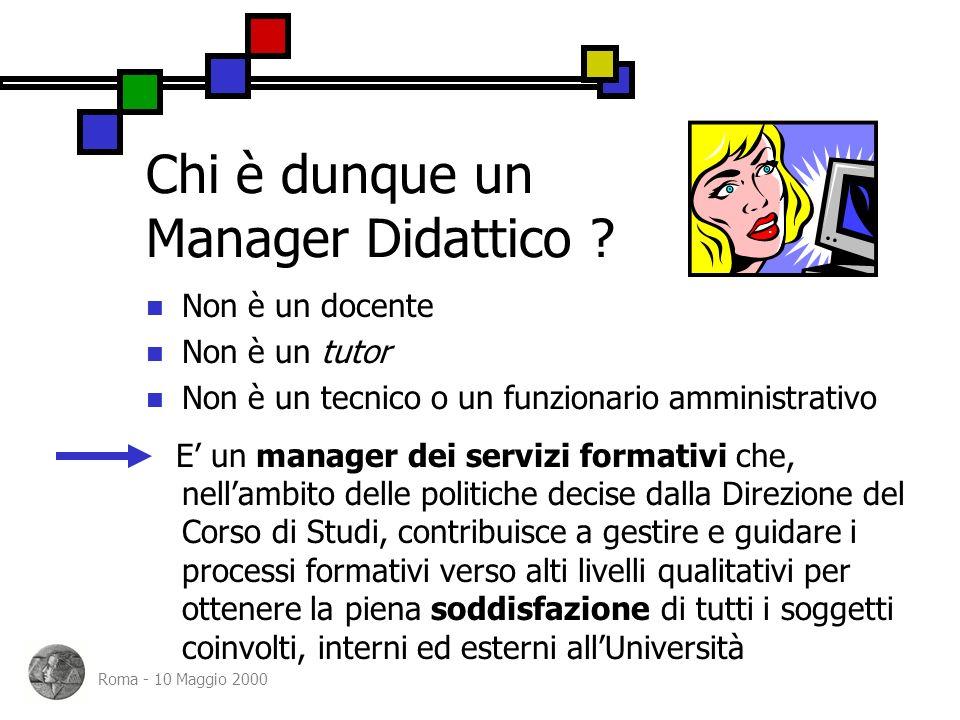 Roma - 10 Maggio 2000 Chi è dunque un Manager Didattico .