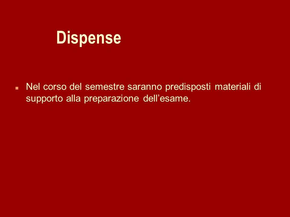 Dispense n Nel corso del semestre saranno predisposti materiali di supporto alla preparazione dellesame.