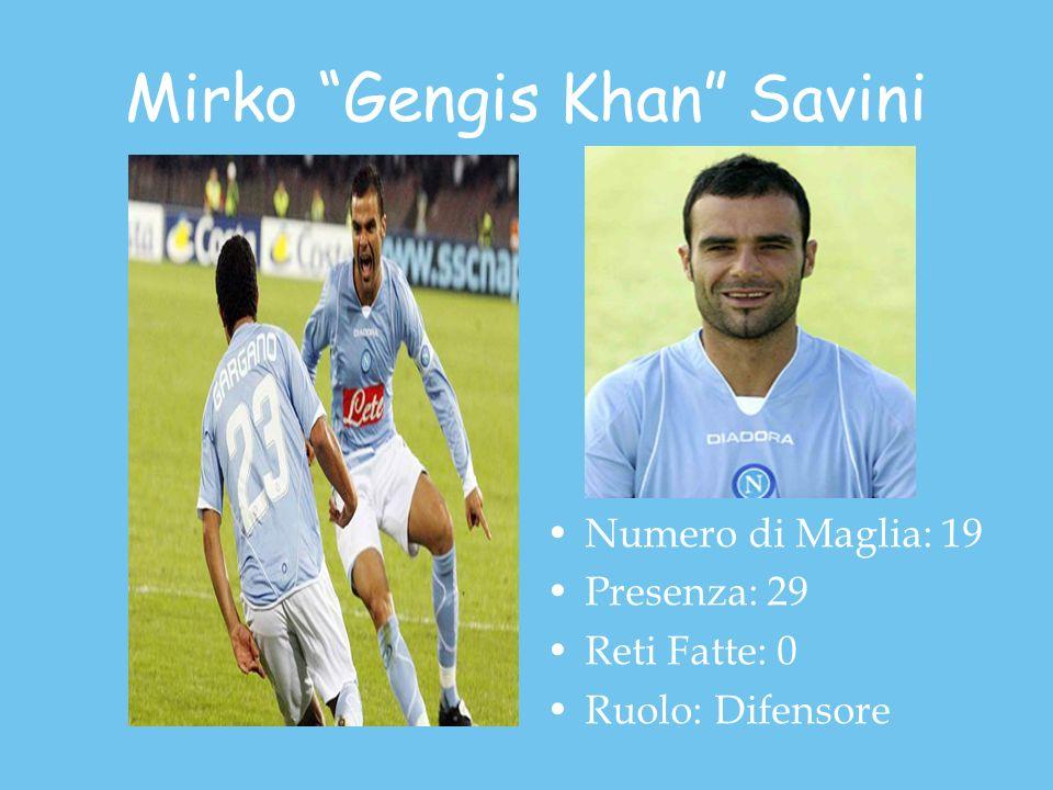 Mirko Gengis Khan Savini Numero di Maglia: 19 Presenza: 29 Reti Fatte: 0 Ruolo: Difensore