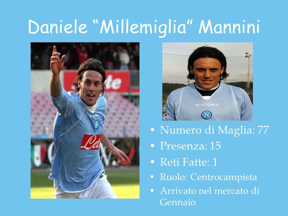Daniele Millemiglia Mannini Numero di Maglia: 77 Presenza: 15 Reti Fatte: 1 Ruolo: Centrocampista Arrivato nel mercato di Gennaio