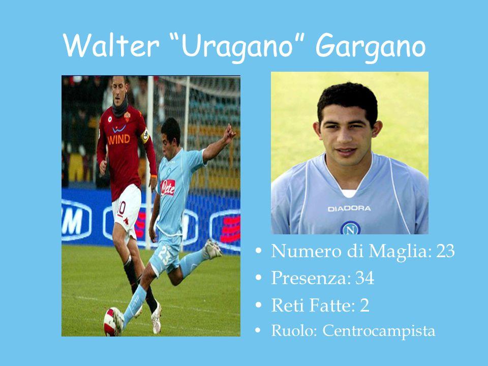 Walter Uragano Gargano Numero di Maglia: 23 Presenza: 34 Reti Fatte: 2 Ruolo: Centrocampista