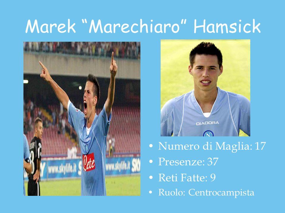 Marek Marechiaro Hamsick Numero di Maglia: 17 Presenze: 37 Reti Fatte: 9 Ruolo: Centrocampista
