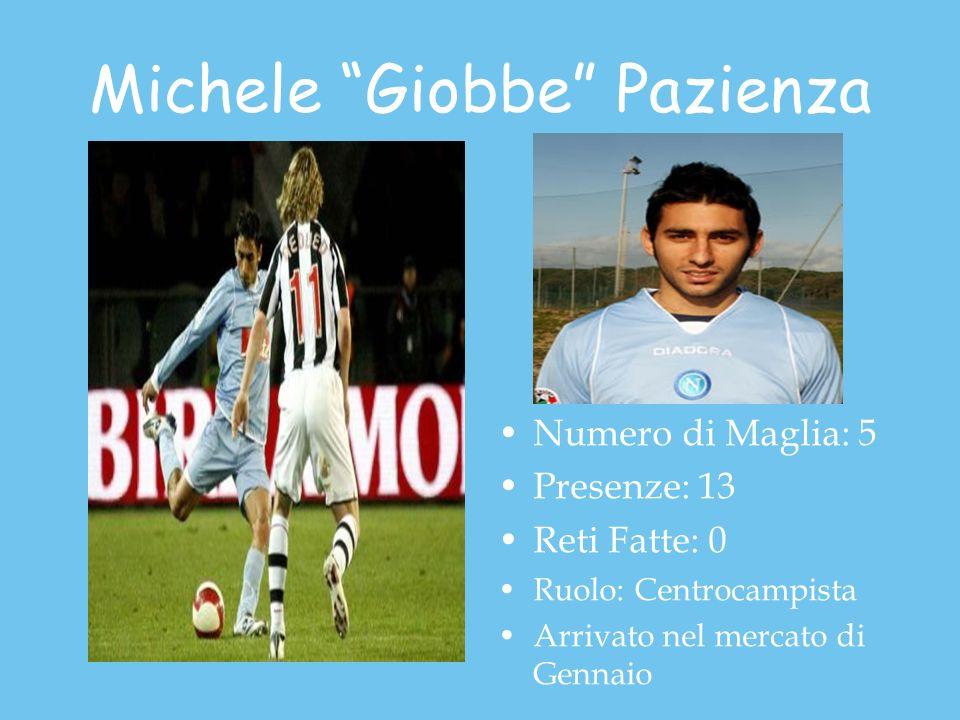 Michele Giobbe Pazienza Numero di Maglia: 5 Presenze: 13 Reti Fatte: 0 Ruolo: Centrocampista Arrivato nel mercato di Gennaio