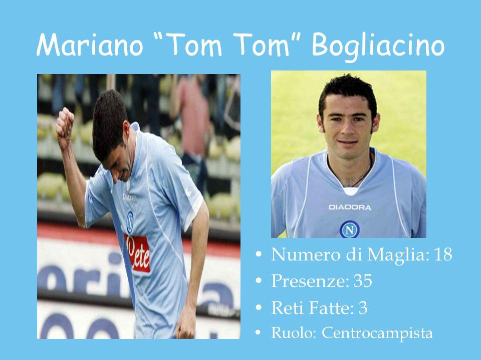 Mariano Tom Tom Bogliacino Numero di Maglia: 18 Presenze: 35 Reti Fatte: 3 Ruolo: Centrocampista