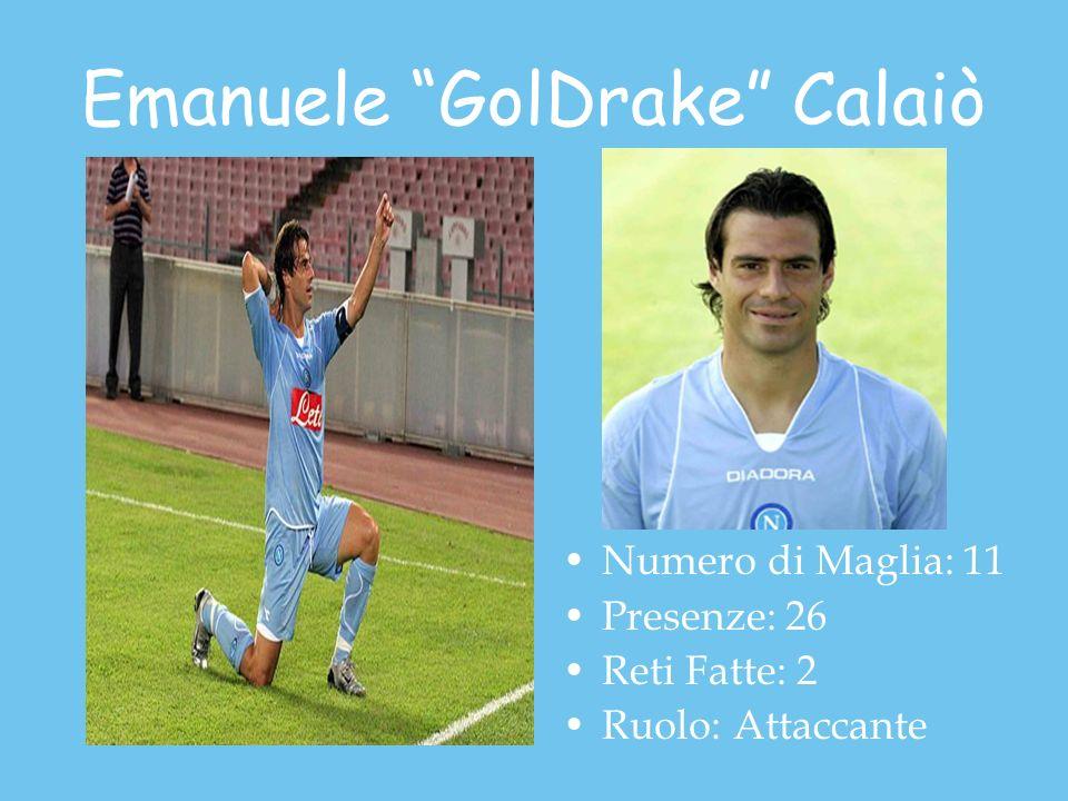 Emanuele GolDrake Calaiò Numero di Maglia: 11 Presenze: 26 Reti Fatte: 2 Ruolo: Attaccante