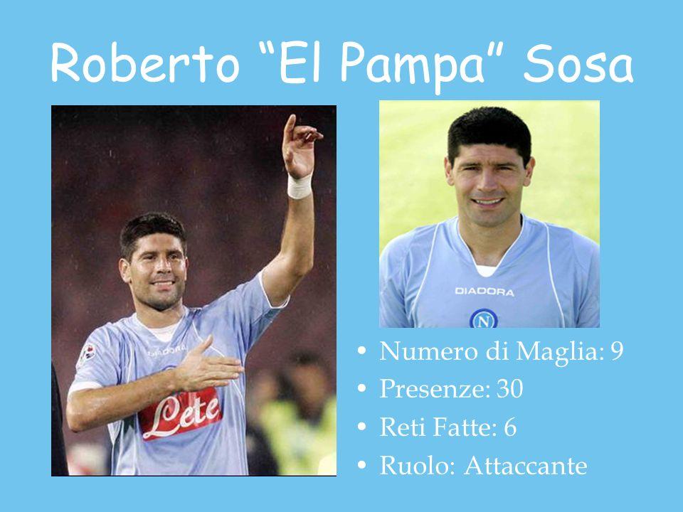 Roberto El Pampa Sosa Numero di Maglia: 9 Presenze: 30 Reti Fatte: 6 Ruolo: Attaccante