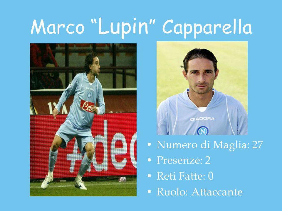 Marco Lupin Capparella Numero di Maglia: 27 Presenze: 2 Reti Fatte: 0 Ruolo: Attaccante