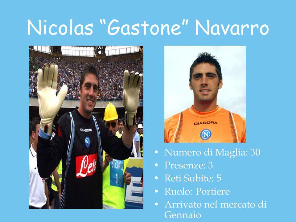 Nicolas Gastone Navarro Numero di Maglia: 30 Presenze: 3 Reti Subite: 5 Ruolo: Portiere Arrivato nel mercato di Gennaio