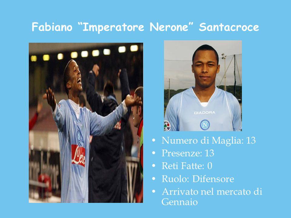 Fabiano Imperatore Nerone Santacroce Numero di Maglia: 13 Presenze: 13 Reti Fatte: 0 Ruolo: Difensore Arrivato nel mercato di Gennaio