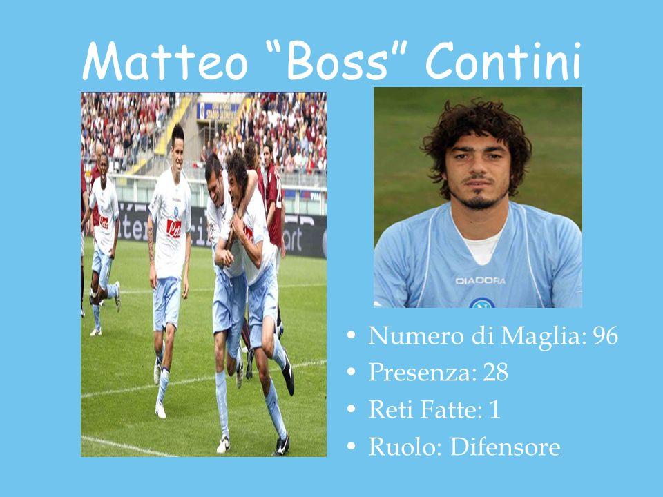 Matteo Boss Contini Numero di Maglia: 96 Presenza: 28 Reti Fatte: 1 Ruolo: Difensore