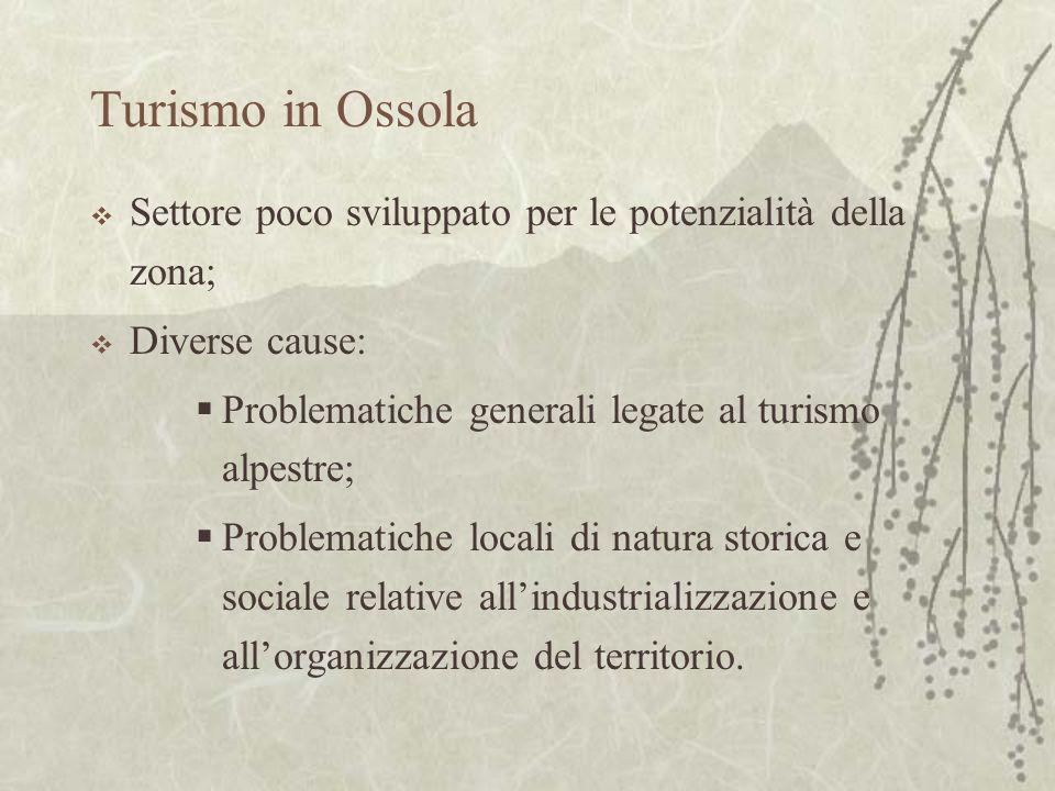 Turismo in Ossola Settore poco sviluppato per le potenzialità della zona; Diverse cause: Problematiche generali legate al turismo alpestre; Problemati