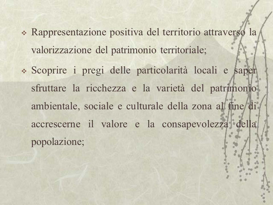 Rappresentazione positiva del territorio attraverso la valorizzazione del patrimonio territoriale; Scoprire i pregi delle particolarità locali e saper