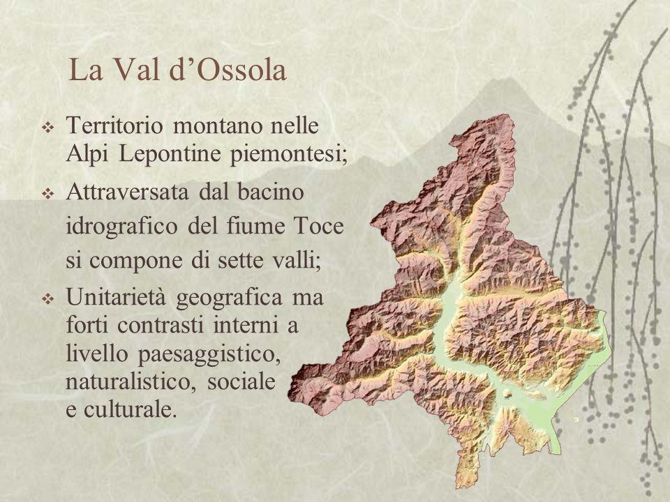 La Val dOssola Territorio montano nelle Alpi Lepontine piemontesi; Attraversata dal bacino idrografico del fiume Toce si compone di sette valli; Unitarietà geografica ma forti contrasti interni a livello paesaggistico, naturalistico, sociale e culturale.