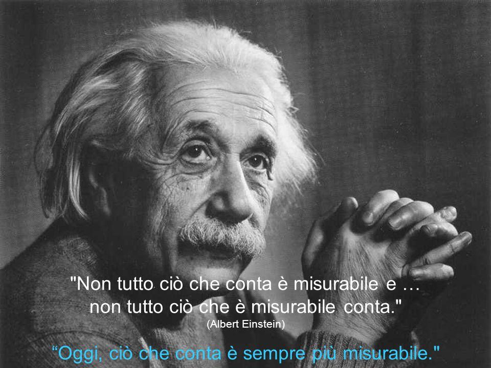 Non tutto ciò che conta è misurabile e … non tutto ciò che è misurabile conta. (Albert Einstein) Oggi, ciò che conta è sempre più misurabile.