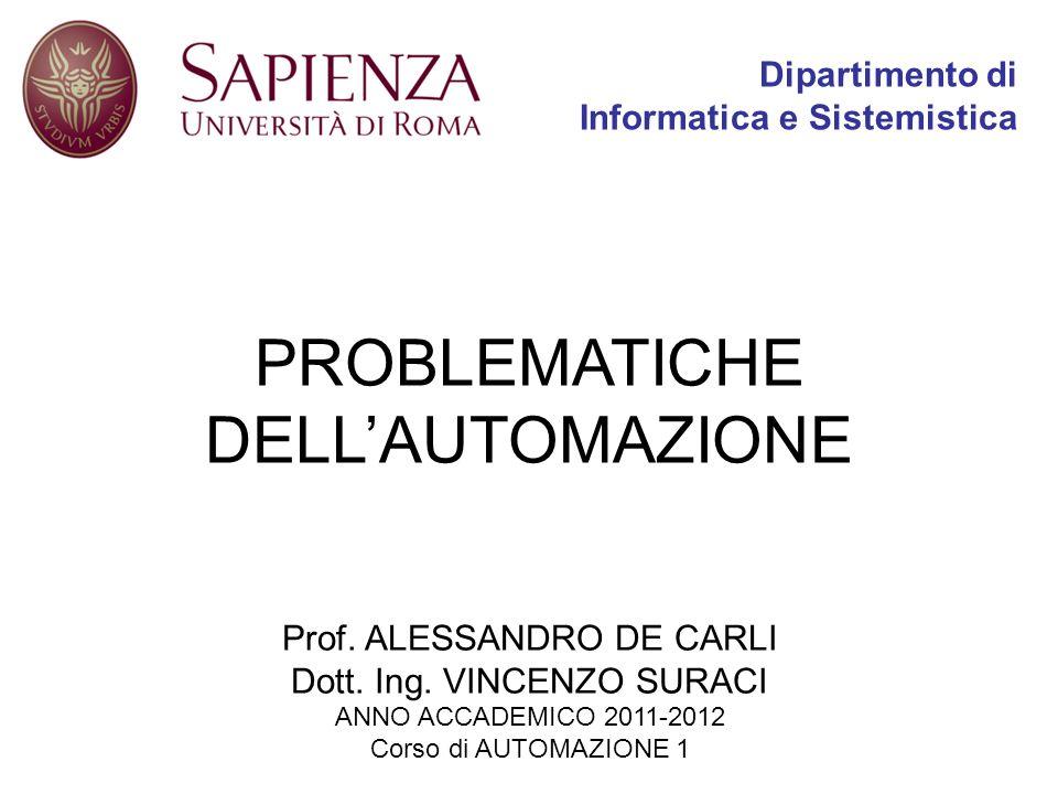 PROBLEMATICHE DELLAUTOMAZIONE Dipartimento di Informatica e Sistemistica Prof. ALESSANDRO DE CARLI Dott. Ing. VINCENZO SURACI ANNO ACCADEMICO 2011-201