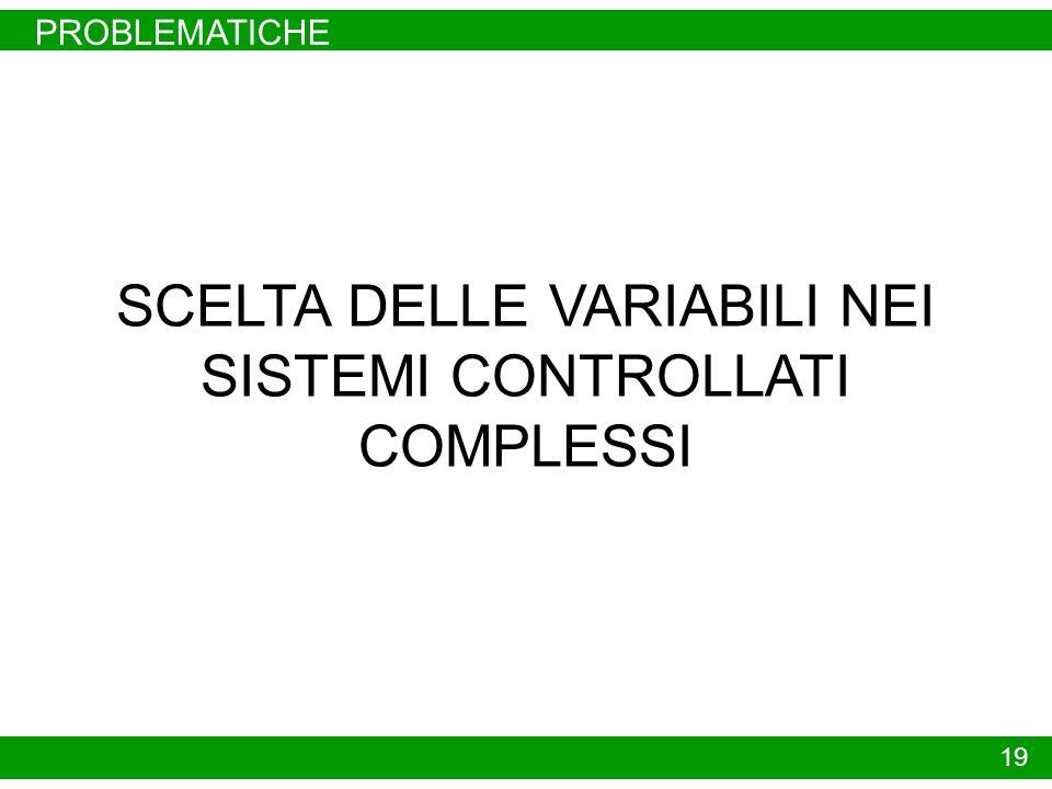 PROBLEMATICHE 19 SCELTA DELLE VARIABILI NEI SISTEMI CONTROLLATI COMPLESSI