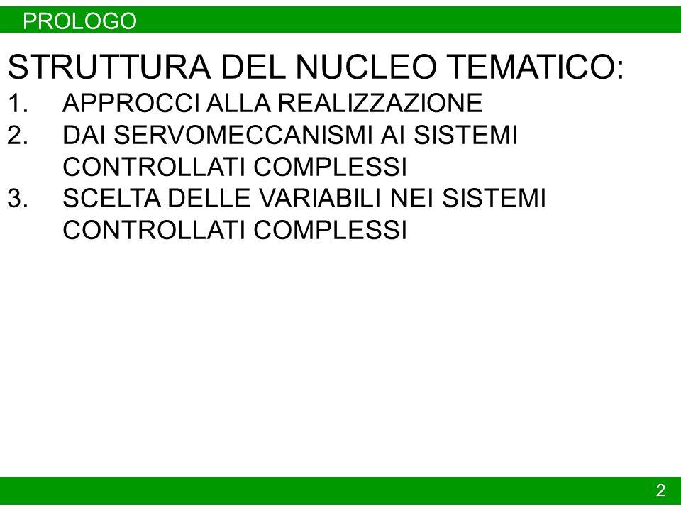 PROLOGO 2 STRUTTURA DEL NUCLEO TEMATICO: 1.APPROCCI ALLA REALIZZAZIONE 2.DAI SERVOMECCANISMI AI SISTEMI CONTROLLATI COMPLESSI 3.SCELTA DELLE VARIABILI NEI SISTEMI CONTROLLATI COMPLESSI