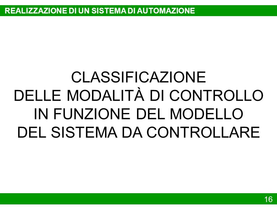 16 CLASSIFICAZIONE DELLE MODALITÀ DI CONTROLLO IN FUNZIONE DEL MODELLO DEL SISTEMA DA CONTROLLARE REALIZZAZIONE DI UN SISTEMA DI AUTOMAZIONE