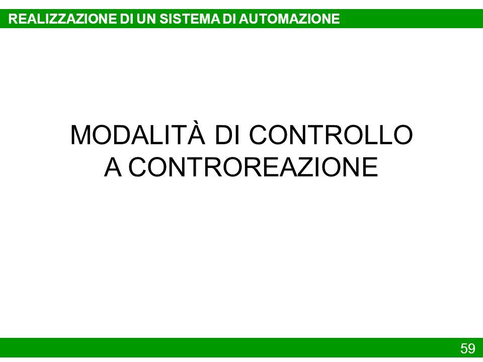 59 MODALITÀ DI CONTROLLO A CONTROREAZIONE REALIZZAZIONE DI UN SISTEMA DI AUTOMAZIONE