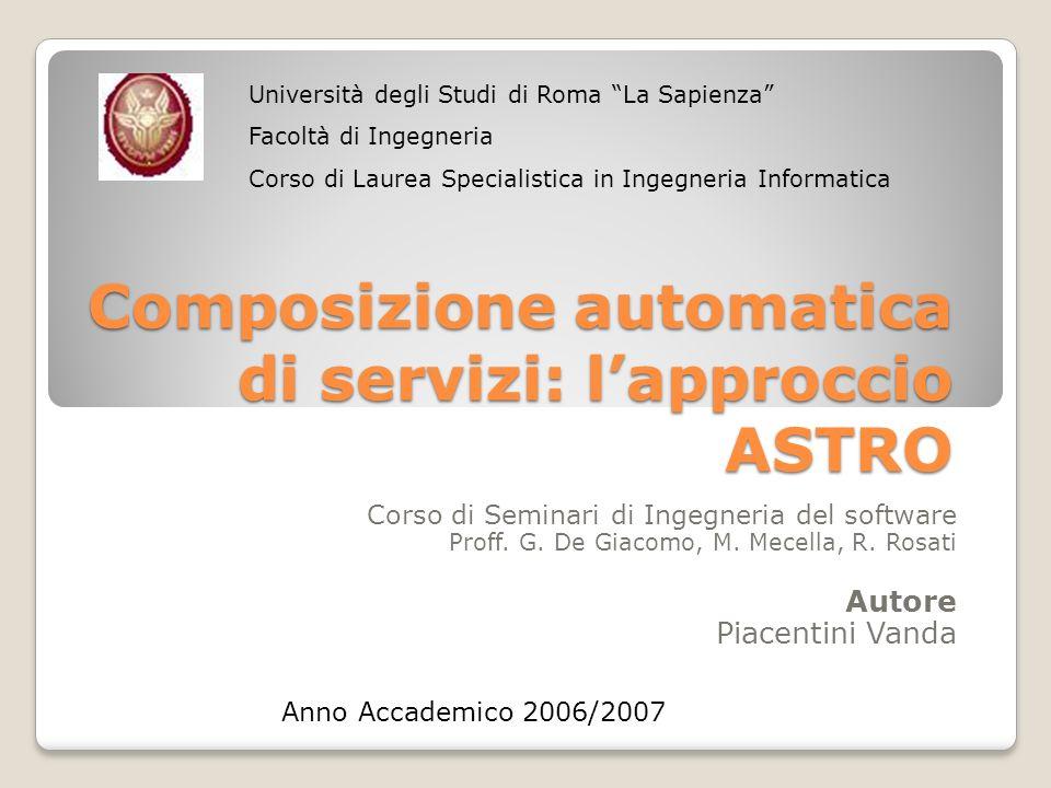 Composizione automatica di servizi: lapproccio ASTRO Corso di Seminari di Ingegneria del software Proff. G. De Giacomo, M. Mecella, R. Rosati Autore P