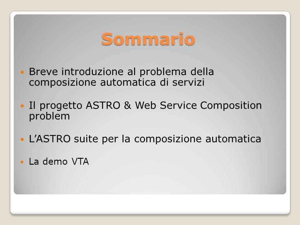 Sommario Breve introduzione al problema della composizione automatica di servizi Il progetto ASTRO & Web Service Composition problem LASTRO suite per la composizione automatica La demo VTA