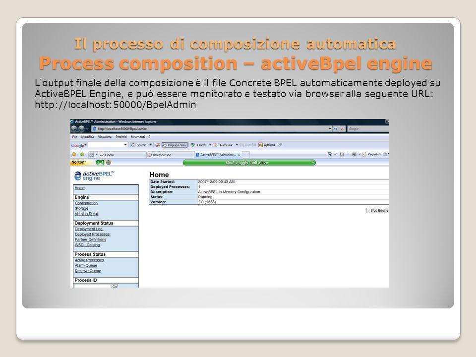 Il processo di composizione automatica Process composition – activeBpel engine L output finale della composizione è il file Concrete BPEL automaticamente deployed su ActiveBPEL Engine, e può essere monitorato e testato via browser alla seguente URL: http://localhost:50000/BpelAdmin