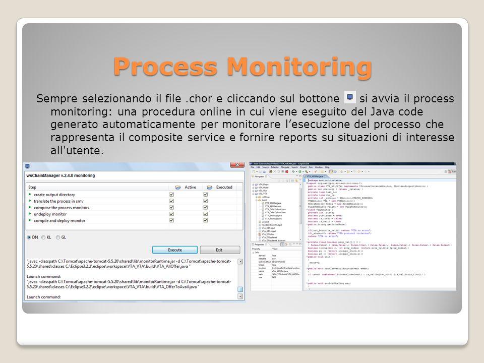 Process Monitoring Sempre selezionando il file.chor e cliccando sul bottone si avvia il process monitoring: una procedura online in cui viene eseguito del Java code generato automaticamente per monitorare lesecuzione del processo che rappresenta il composite service e fornire reports su situazioni di interesse all utente.