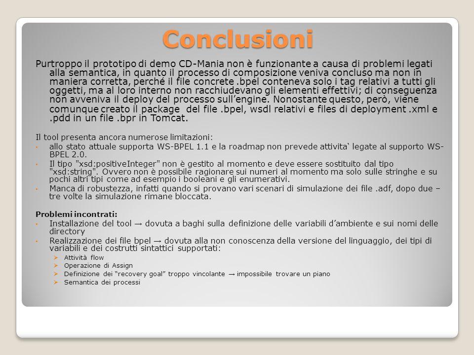 Conclusioni Purtroppo il prototipo di demo CD-Mania non è funzionante a causa di problemi legati alla semantica, in quanto il processo di composizione