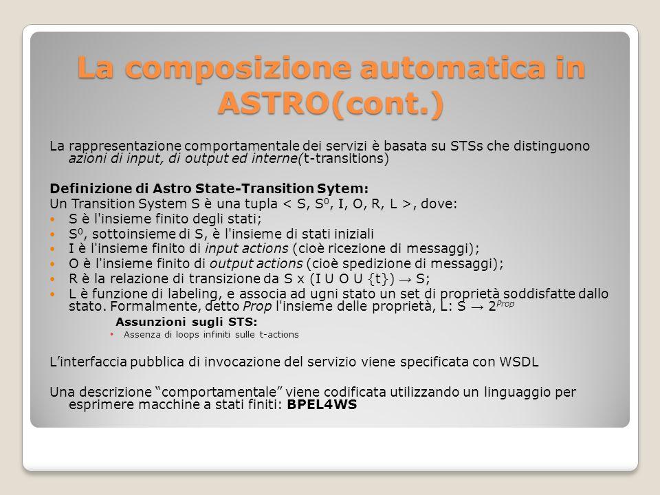 La composizione automatica in ASTRO(cont.) La rappresentazione comportamentale dei servizi è basata su STSs che distinguono azioni di input, di output ed interne(t-transitions) Definizione di Astro State-Transition Sytem: Un Transition System S è una tupla, dove: S è l insieme finito degli stati; S 0, sottoinsieme di S, è l insieme di stati iniziali I è l insieme finito di input actions (cioè ricezione di messaggi); O è l insieme finito di output actions (cioè spedizione di messaggi); R è la relazione di transizione da S x (I U O U {t}) S; L è funzione di labeling, e associa ad ugni stato un set di proprietà soddisfatte dallo stato.