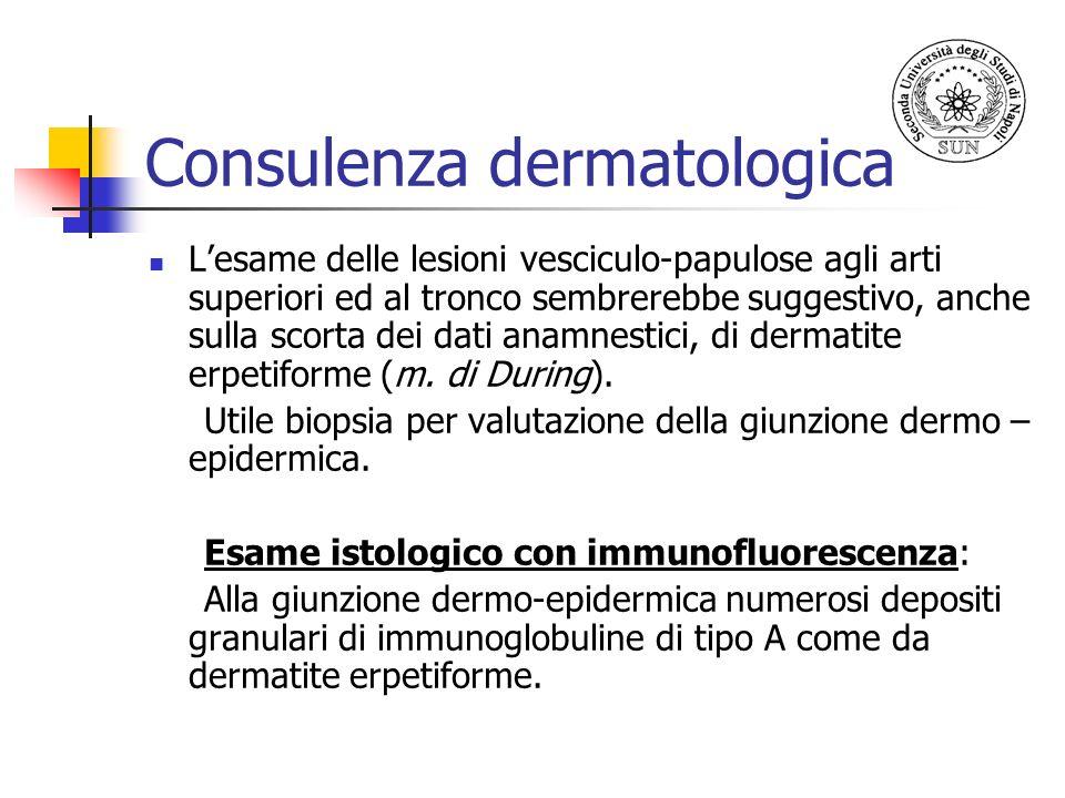 Consulenza dermatologica Lesame delle lesioni vesciculo-papulose agli arti superiori ed al tronco sembrerebbe suggestivo, anche sulla scorta dei dati