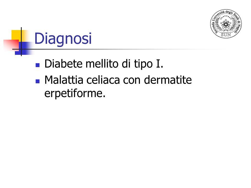 Diagnosi Diabete mellito di tipo I. Malattia celiaca con dermatite erpetiforme.