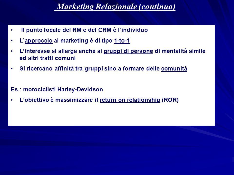 Marketing Relazionale (continua) Il punto focale del RM e del CRM è lindividuo Lapproccio al marketing è di tipo 1-to-1 Linteresse si allarga anche ai