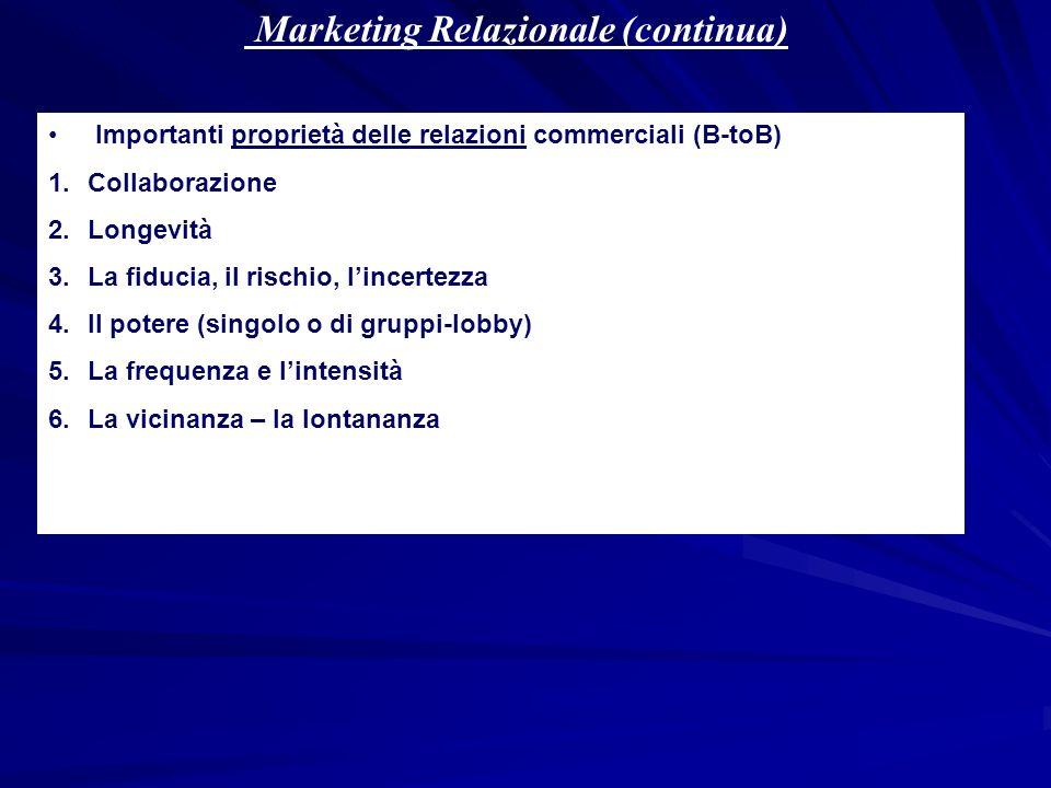Marketing Relazionale (continua) Importanti proprietà delle relazioni commerciali (B-toB) 1.Collaborazione 2.Longevità 3.La fiducia, il rischio, lince
