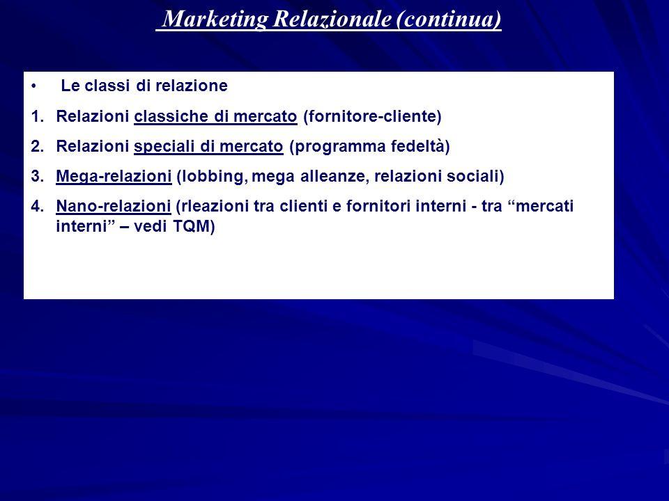 Marketing Relazionale (continua) Le classi di relazione 1.Relazioni classiche di mercato (fornitore-cliente) 2.Relazioni speciali di mercato (programm