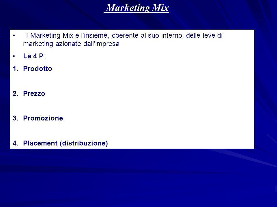 Marketing Mix Il Marketing Mix è linsieme, coerente al suo interno, delle leve di marketing azionate dallimpresa Le 4 P: 1.Prodotto 2.Prezzo 3.Promozi