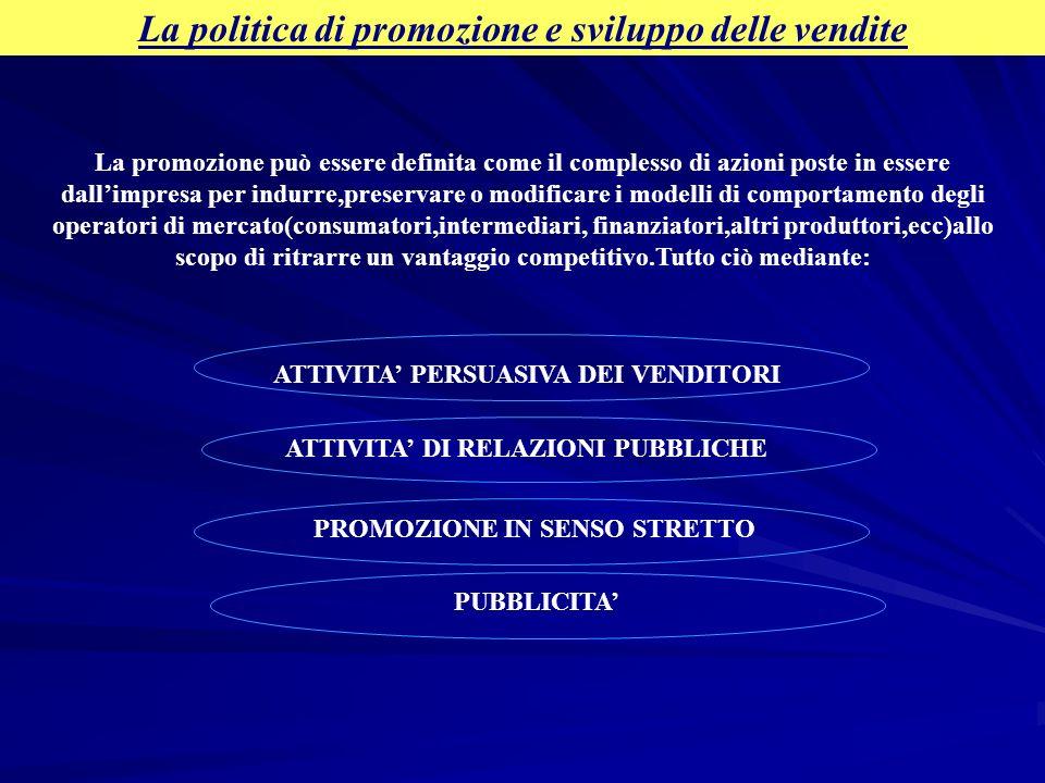 La politica di promozione e sviluppo delle vendite La promozione può essere definita come il complesso di azioni poste in essere dallimpresa per indur