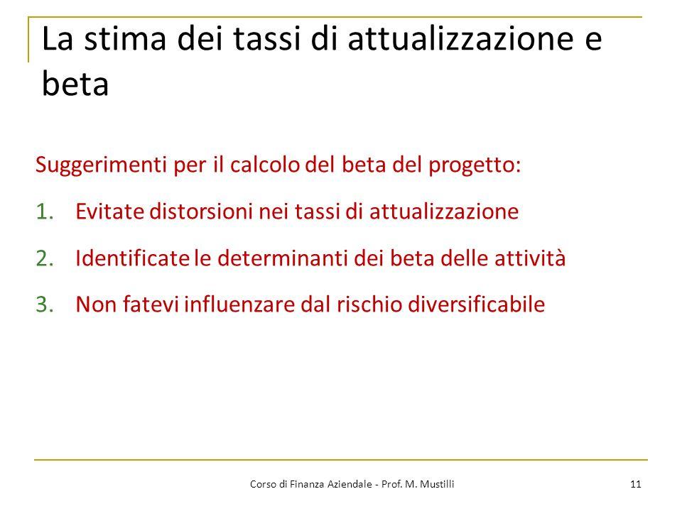 11Corso di Finanza Aziendale - Prof. M. Mustilli La stima dei tassi di attualizzazione e beta Suggerimenti per il calcolo del beta del progetto: 1.Evi