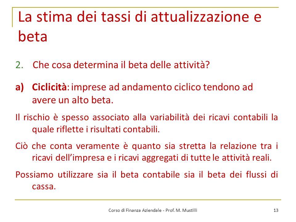 13Corso di Finanza Aziendale - Prof. M. Mustilli La stima dei tassi di attualizzazione e beta 2.Che cosa determina il beta delle attività? a)Ciclicità