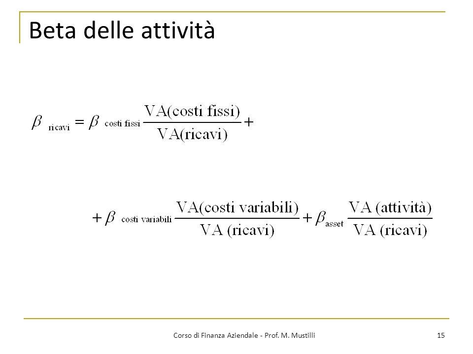 15Corso di Finanza Aziendale - Prof. M. Mustilli Beta delle attività