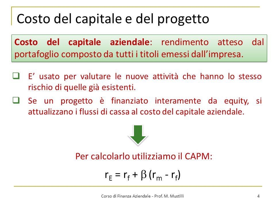 Costo del capitale e del progetto 4Corso di Finanza Aziendale - Prof. M. Mustilli Costo del capitale aziendale: rendimento atteso dal portafoglio comp