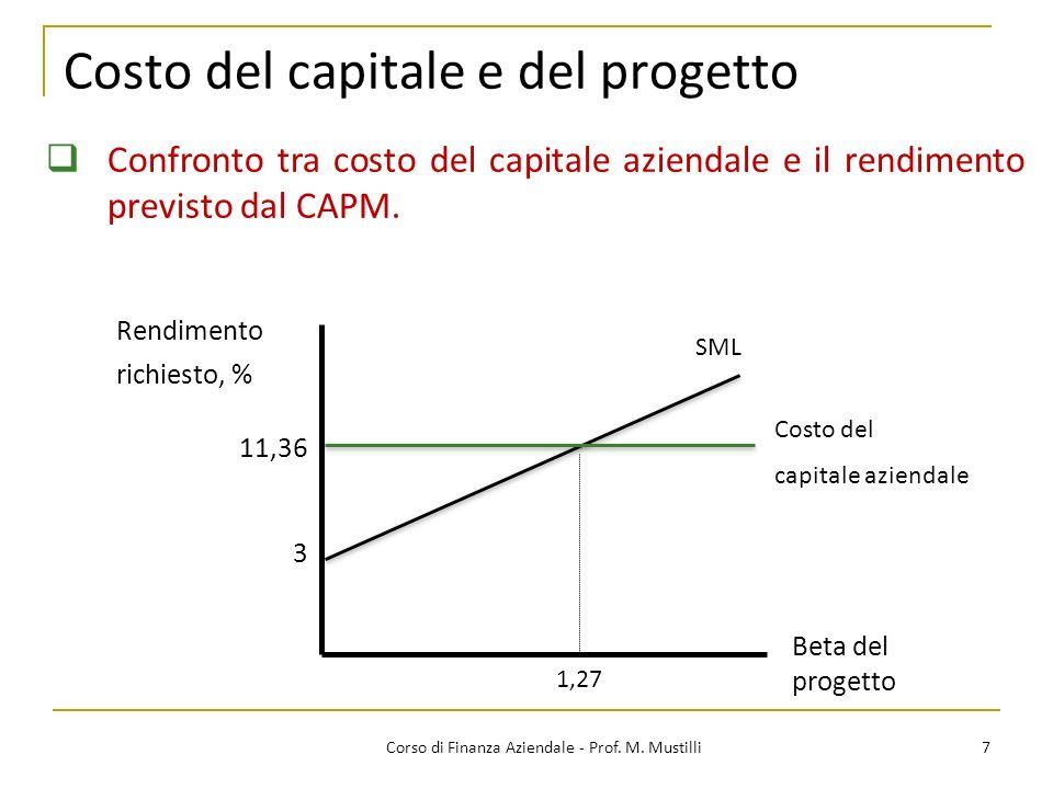 Costo del capitale e del progetto 7Corso di Finanza Aziendale - Prof. M. Mustilli Confronto tra costo del capitale aziendale e il rendimento previsto