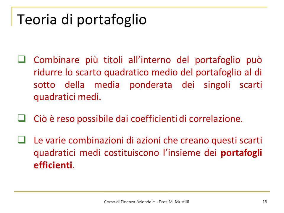 Teoria di portafoglio 13Corso di Finanza Aziendale - Prof.