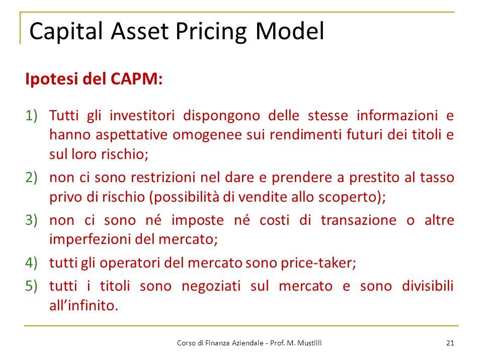 Capital Asset Pricing Model 21Corso di Finanza Aziendale - Prof.