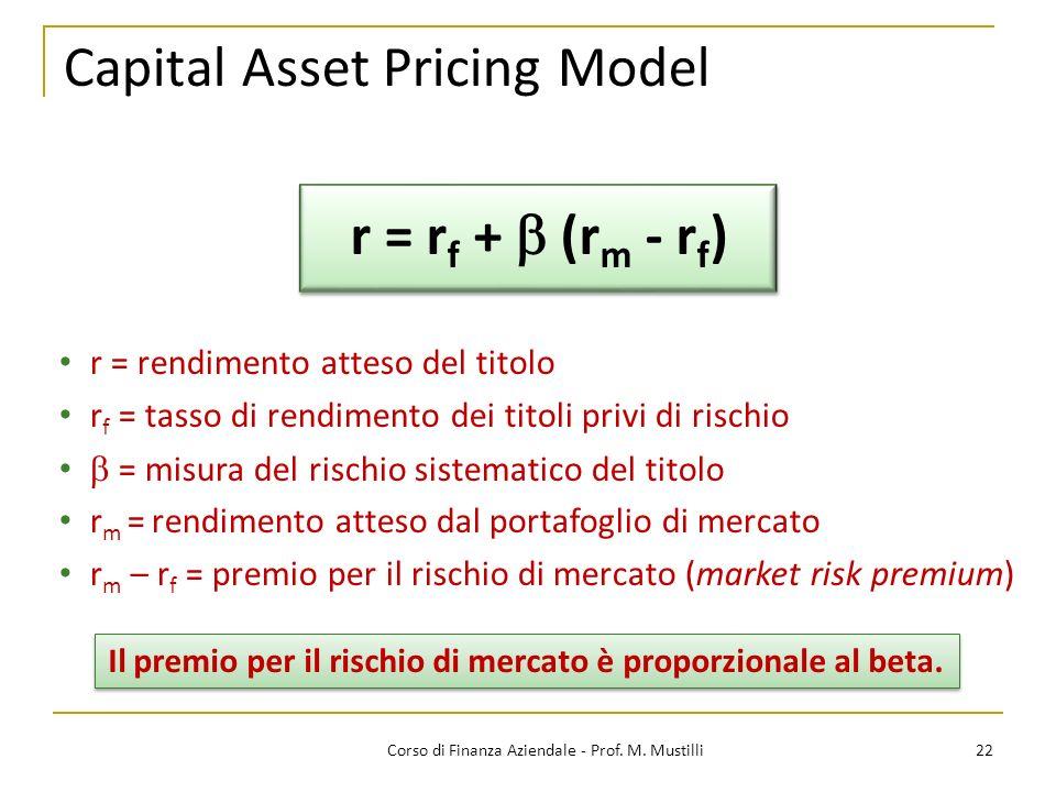 Capital Asset Pricing Model 22Corso di Finanza Aziendale - Prof.