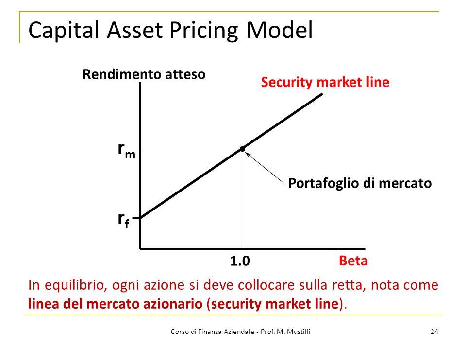 Capital Asset Pricing Model 24Corso di Finanza Aziendale - Prof.