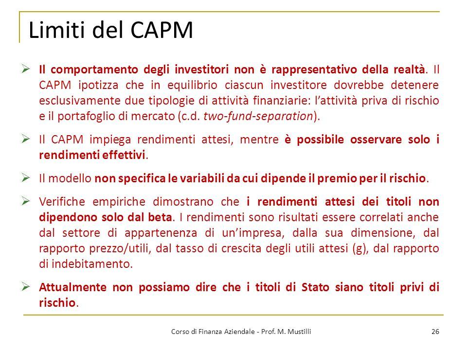 Limiti del CAPM 26Corso di Finanza Aziendale - Prof.