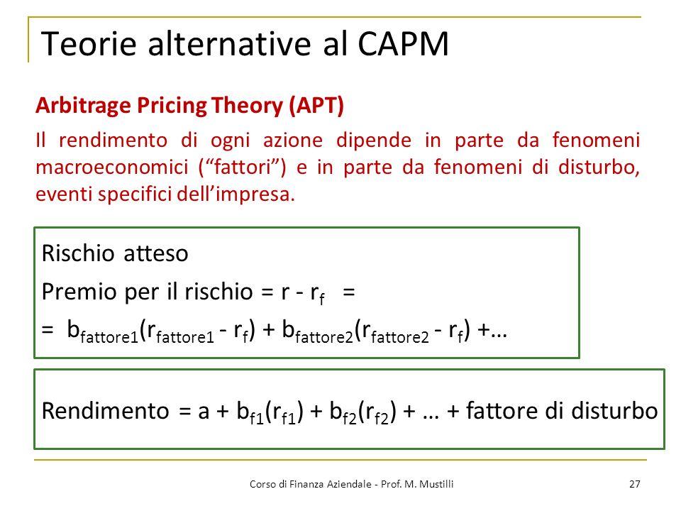 Teorie alternative al CAPM 27Corso di Finanza Aziendale - Prof.