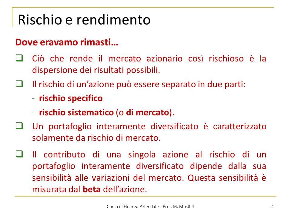 Rischio e rendimento 4Corso di Finanza Aziendale - Prof.