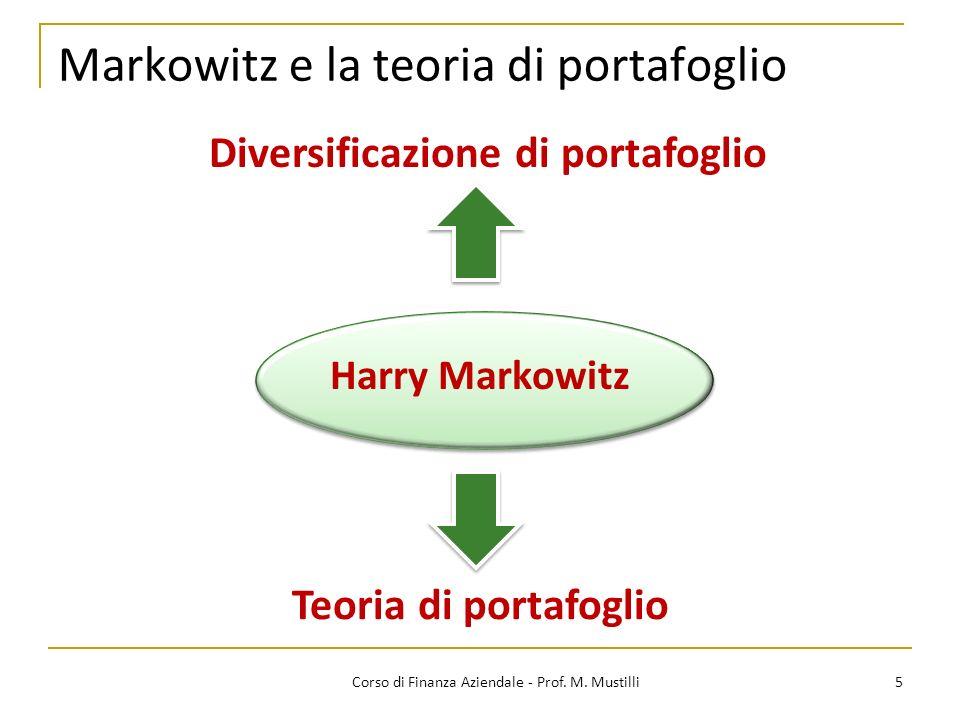 Markowitz e la teoria di portafoglio 5Corso di Finanza Aziendale - Prof.
