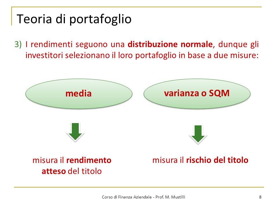 Teoria di portafoglio 8Corso di Finanza Aziendale - Prof.